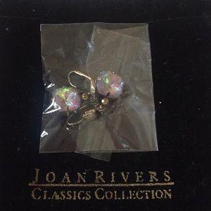 Joan Rivers crystal style, antiqued drop earrings